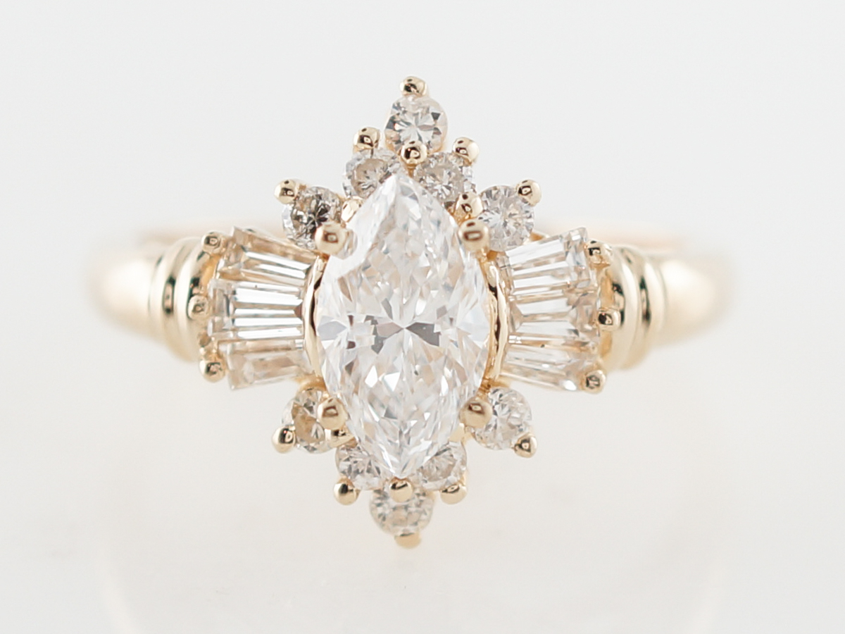.47 Vintage 1950's Marquis Diamond Engagement Ring in Yellow Gold