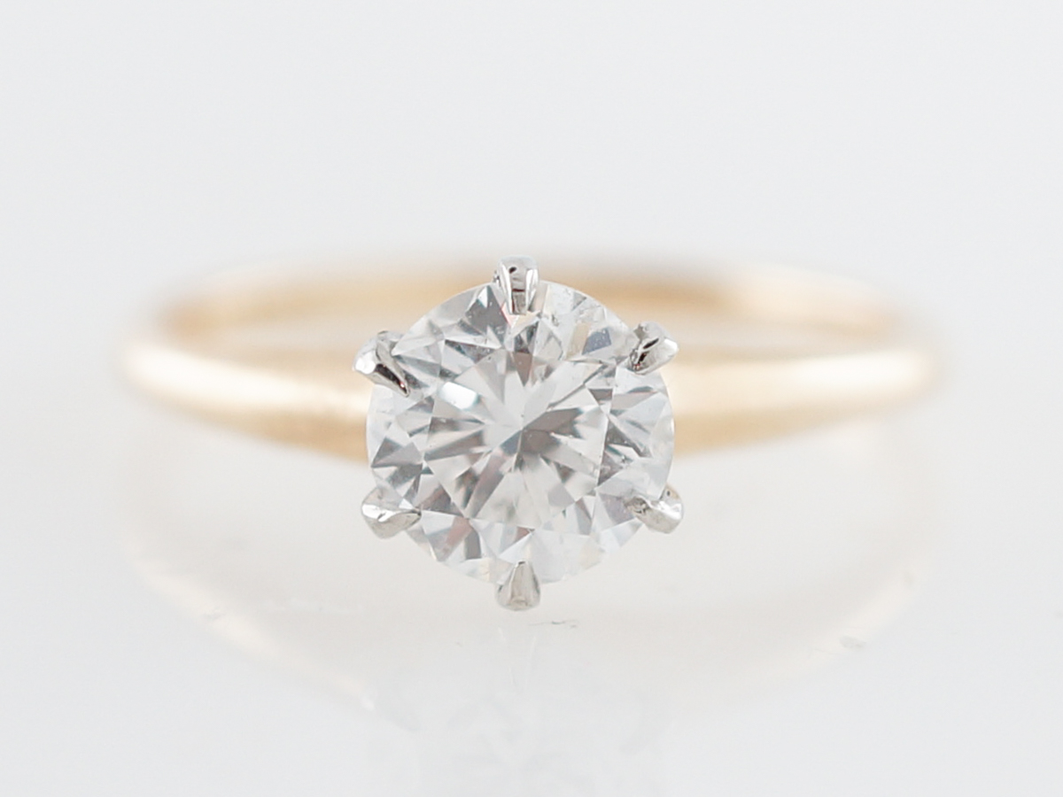 Vintage Engagement Ring Victorian 1.00 Round Brilliant Cut Diamond in 14k Yellow Gold