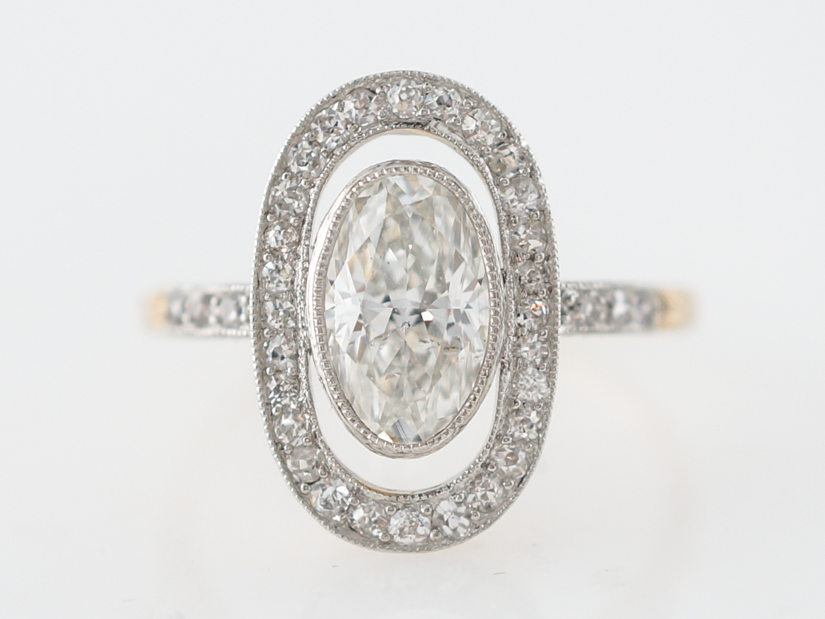 Vintage Engagement Ring Victorian 1.15 Oval Cut Diamond in Platinum & 14k Yellow Gold