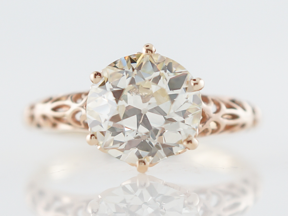Vintage Engagement Ring Victorian 2.18 Old European Brilliant Cut Diamond in 14k Yellow Gold