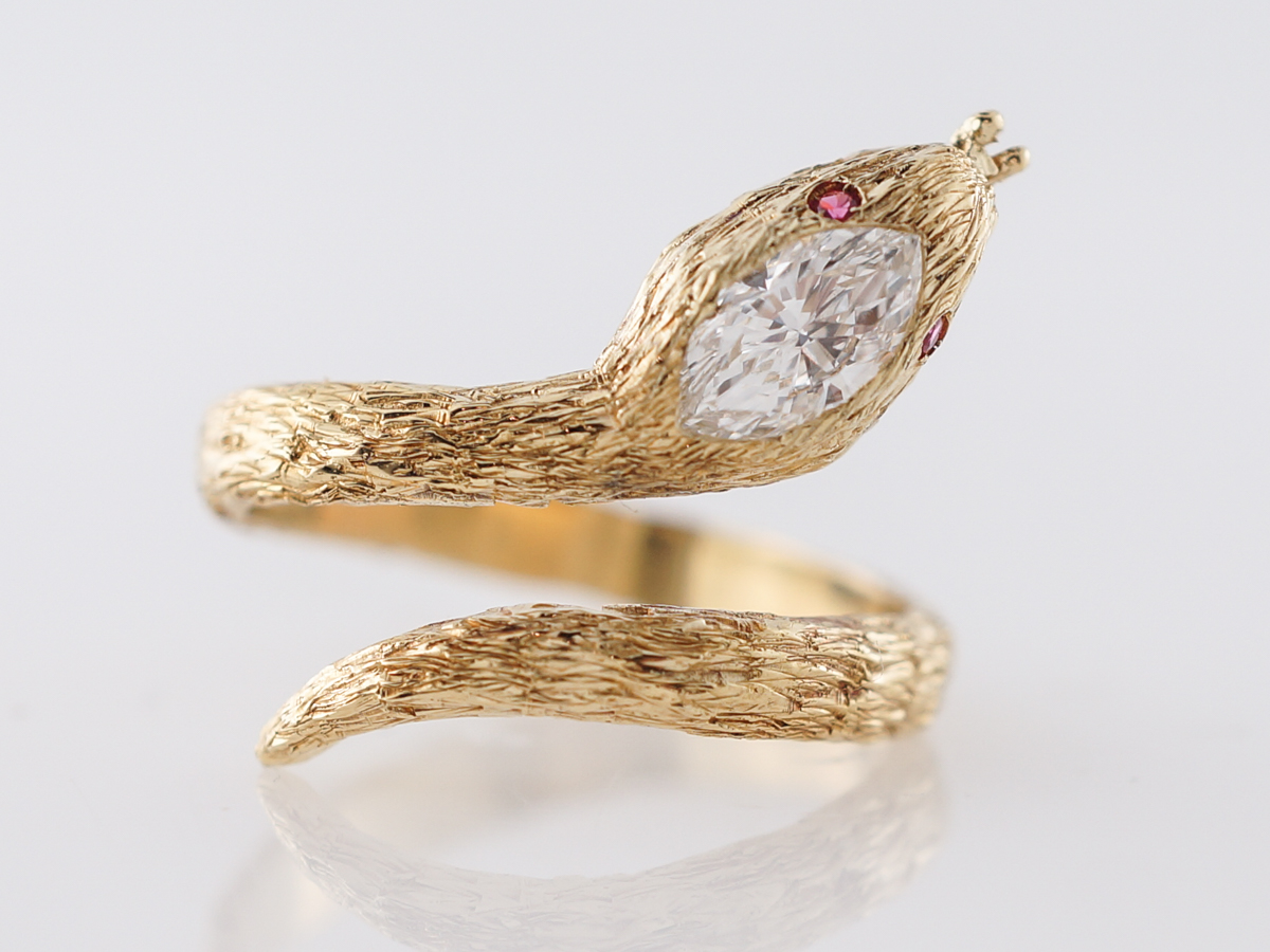 Vintage Mid-Century Right Hand Snake Ring .43 Marquise Cut Diamond in 14k Yellow Gold