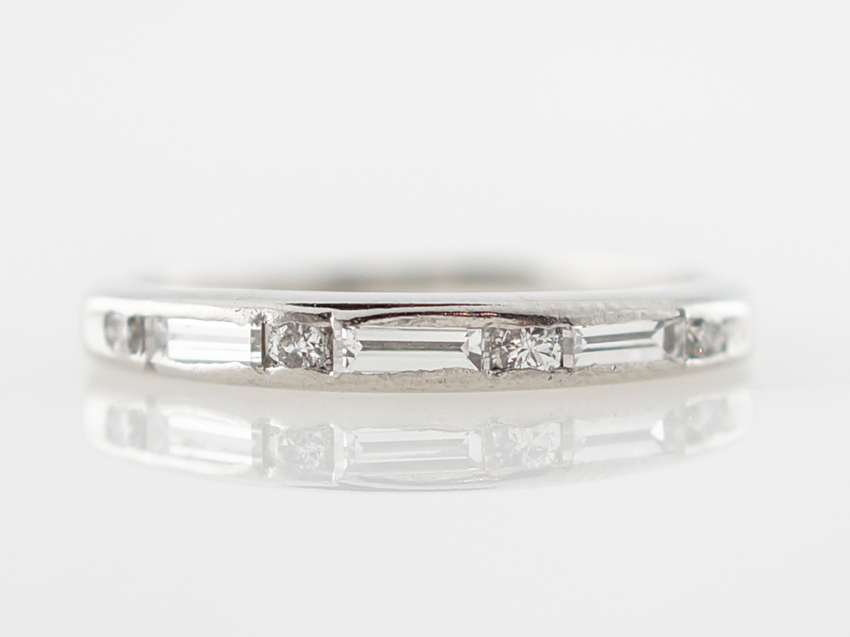Vintage Wedding Band .28 Baguette & Round Brilliant Cut Diamonds in Platinum