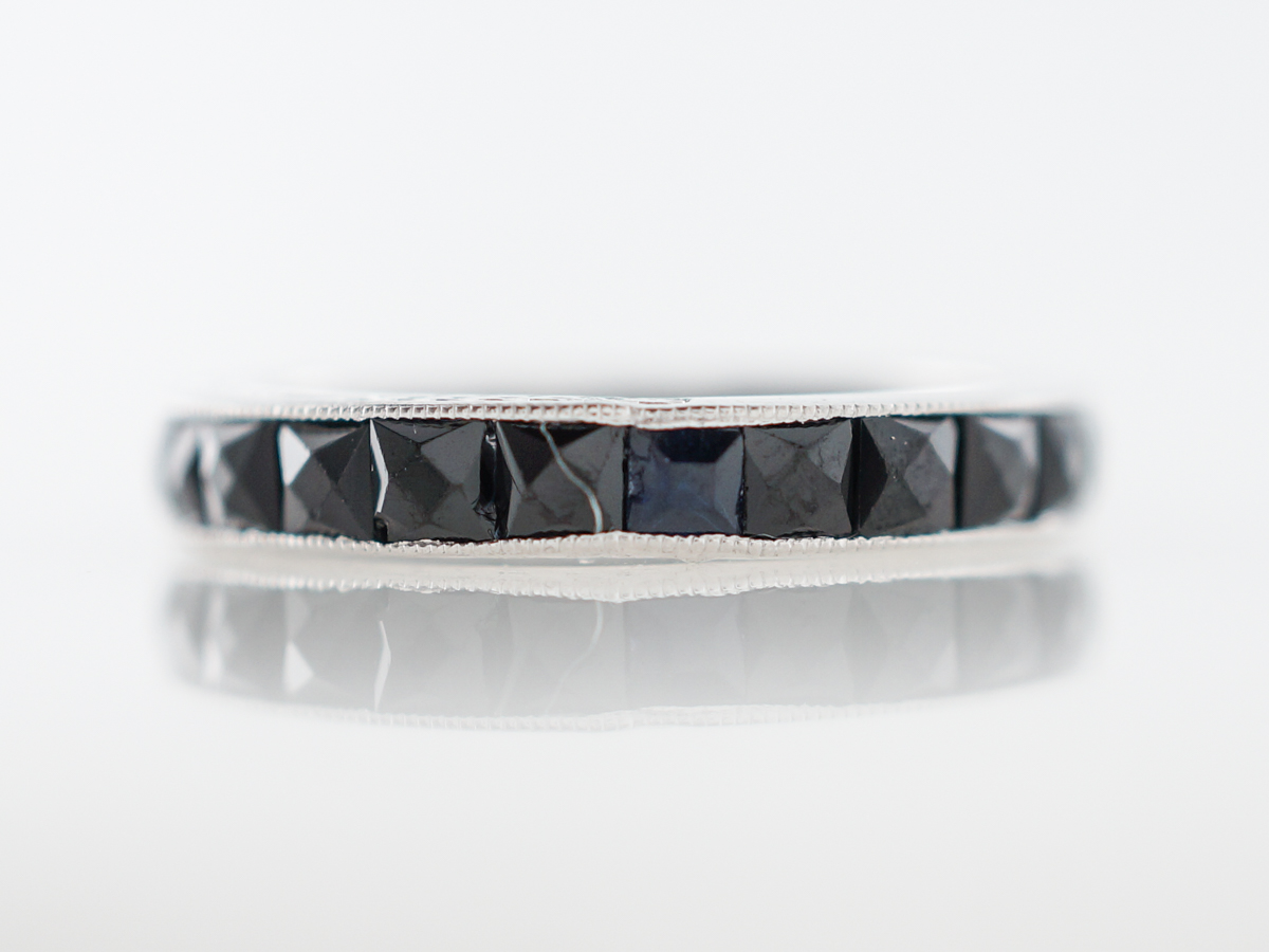 Wedding Band Modern 3.84 French Cut Sapphires in 14k White Gold
