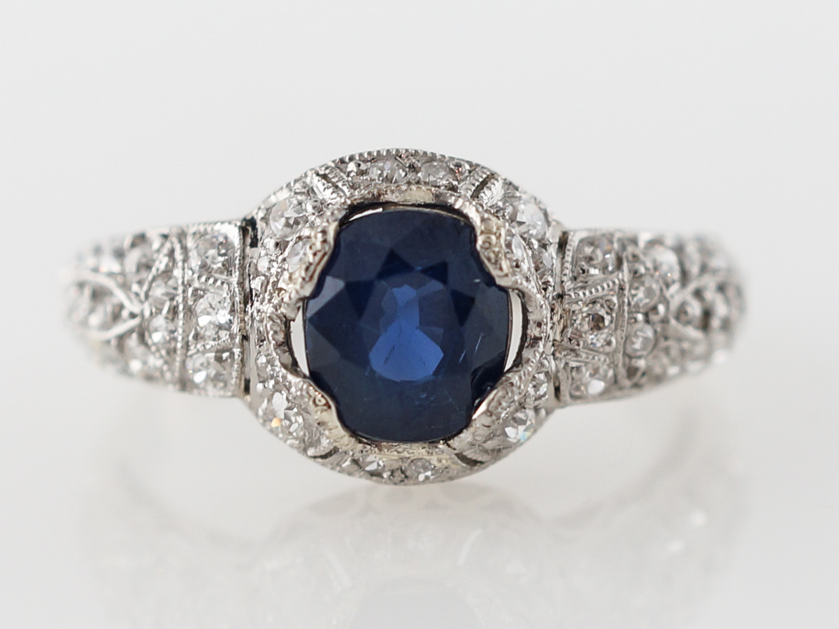 Art Deco Oval Sapphire Engagement Ring in Platinum