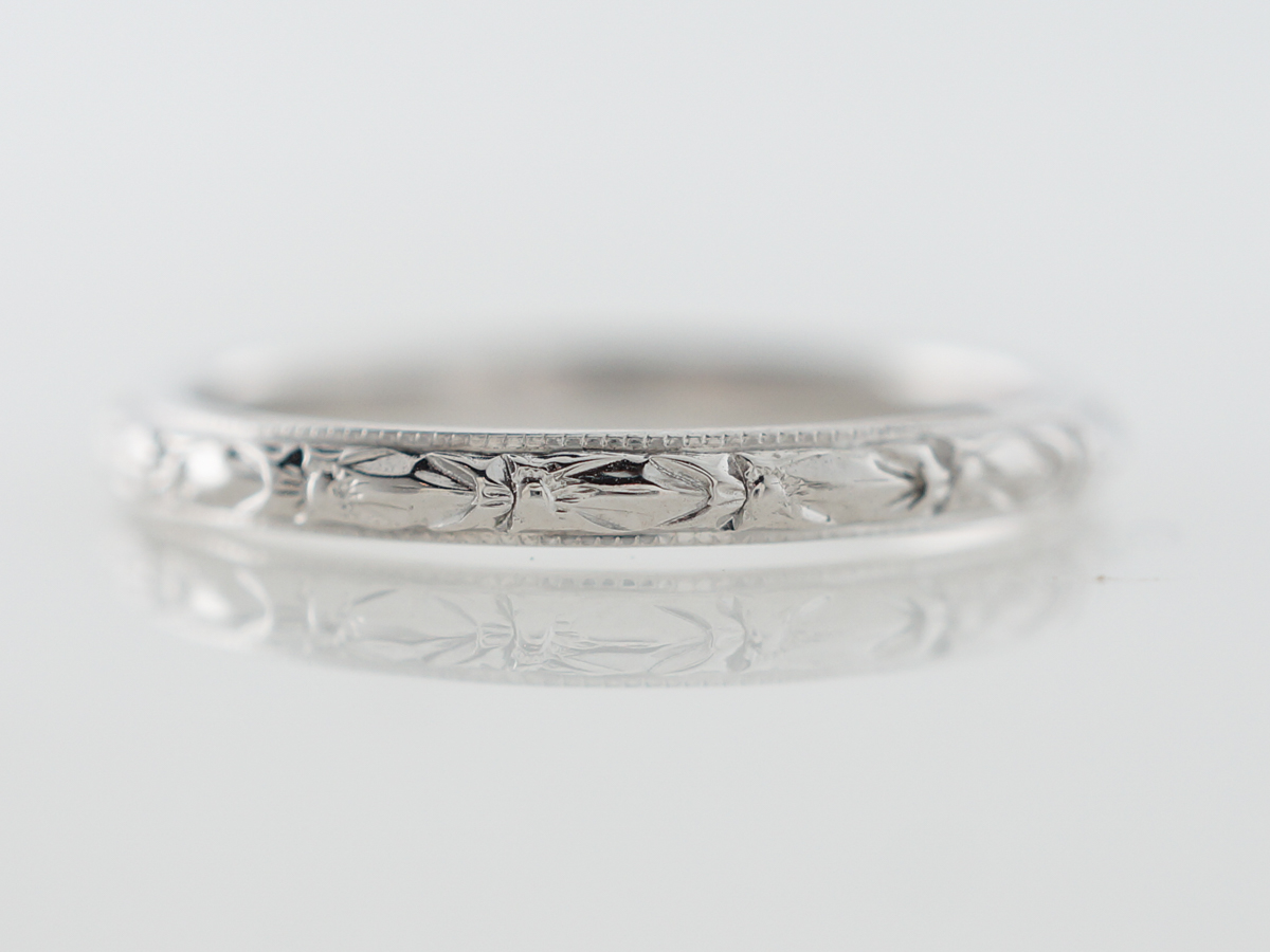 1920's Art Deco Orange Blossom Wedding Band in White Gold