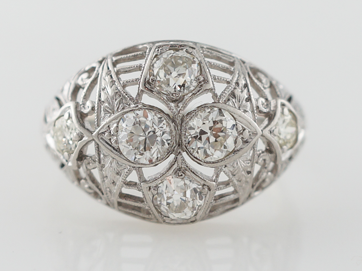 Old European Diamond & Filigree Cocktail Ring in 14k