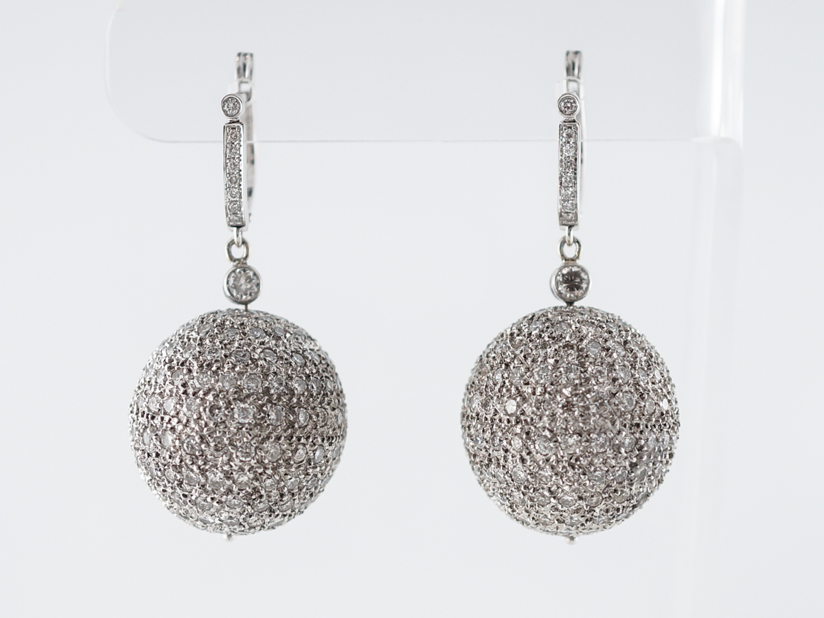 8 Carat Diamond Ball Earrings in 18k White Gold