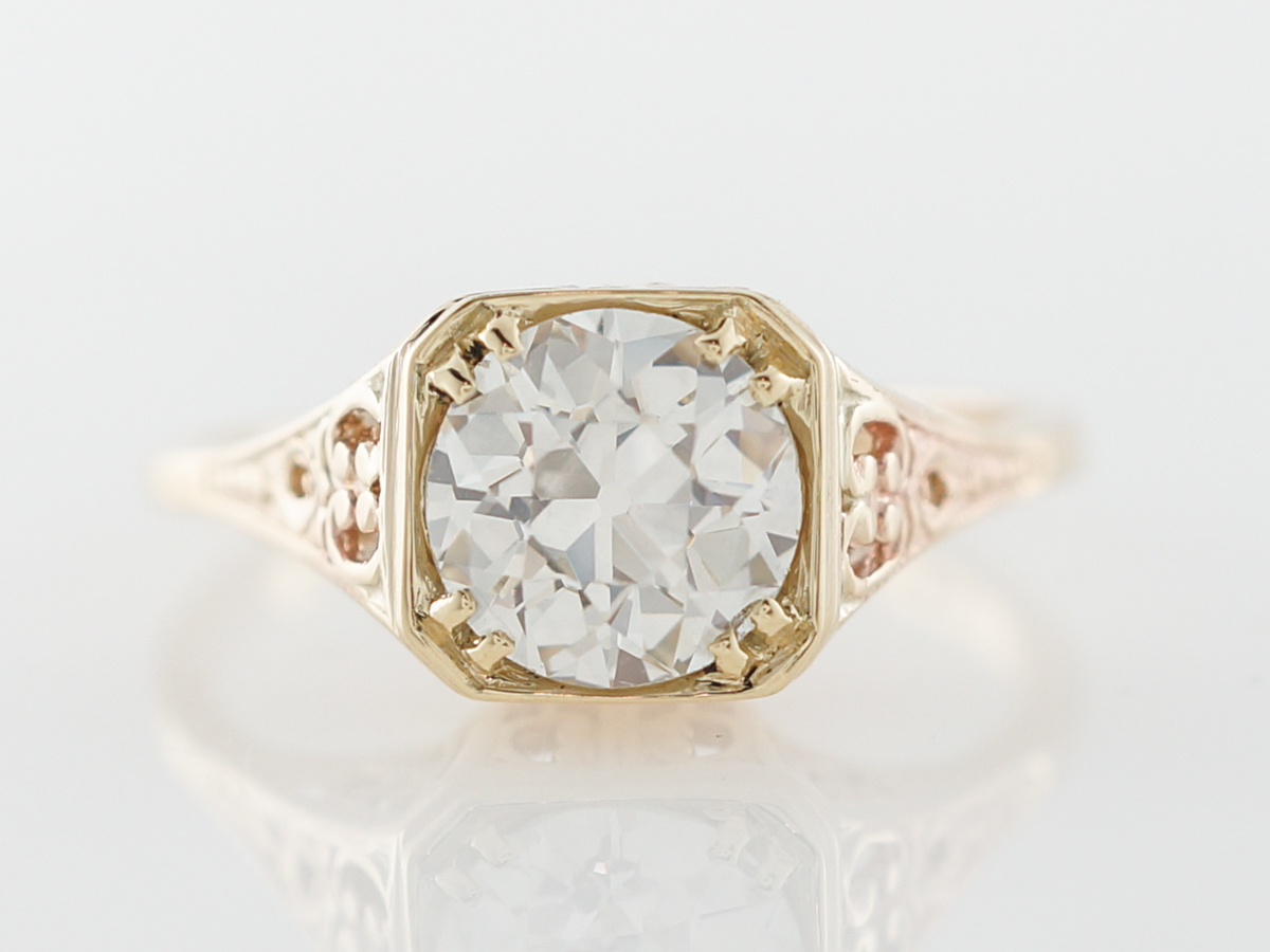 Vintage Yellow Gold Filigree Diamond Engagement Ring