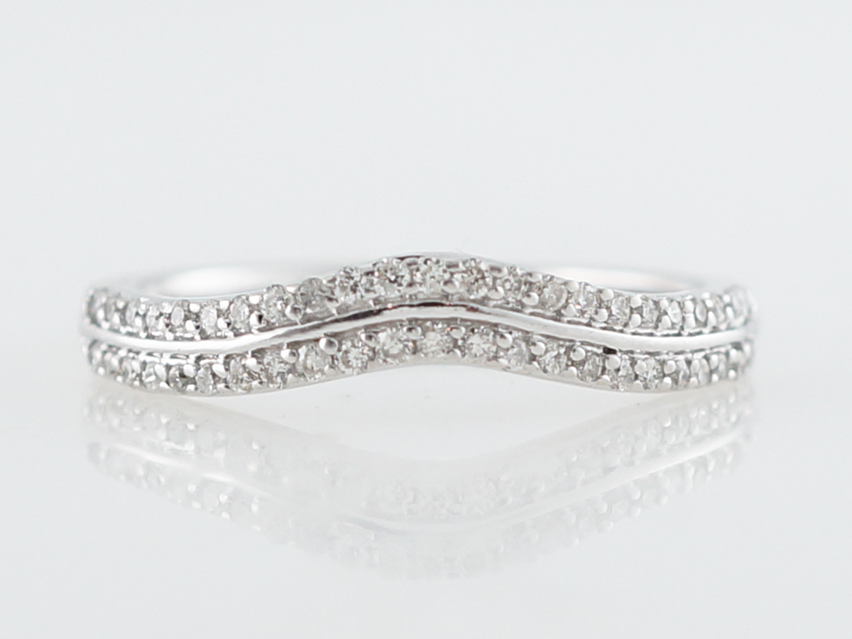 Curved Double Diamond Wedding Band in 14k