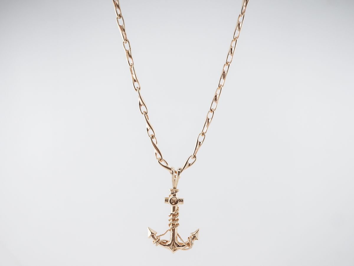 Vintage Anchor Necklace Mid Century in 14k Yellow Gold