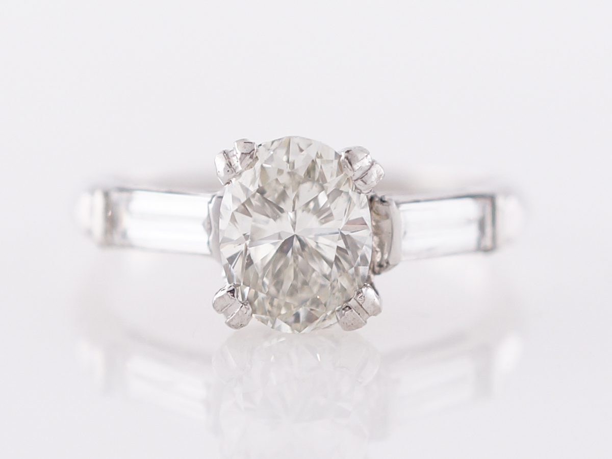1950's Oval Cut Diamond Engagement Ring in Platinum