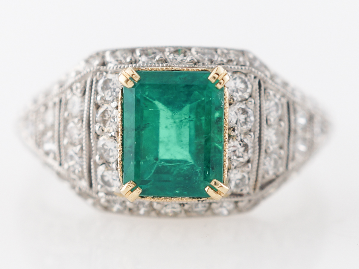 Emerald & Diamond Cocktail Ring in Platinum & 18k Gold
