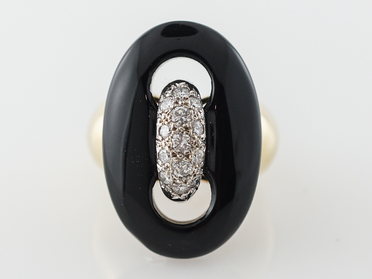 1960s Celino Diamond & Onyx Cocktail Ring in Yellow Gold