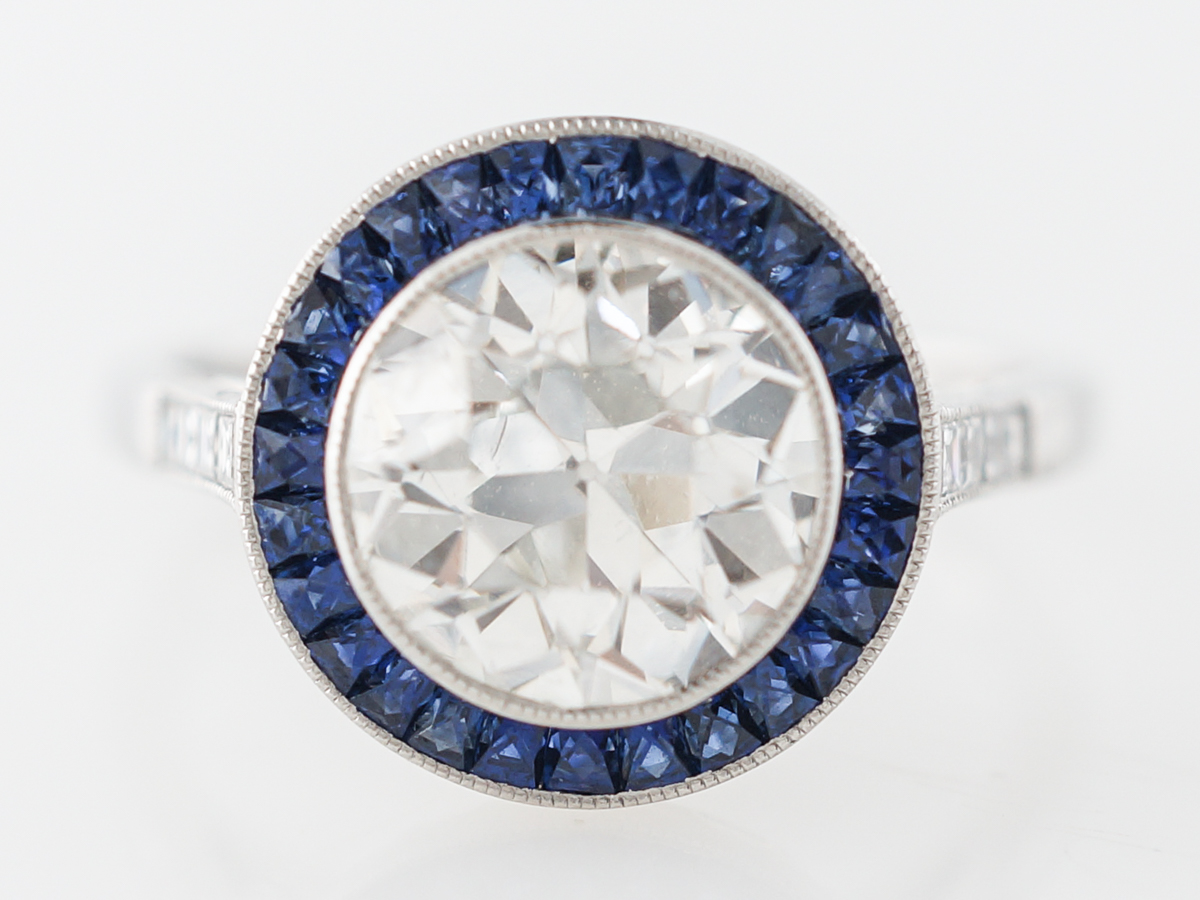 2 Carat Halo Diamond & Sapphire Engagement Ring