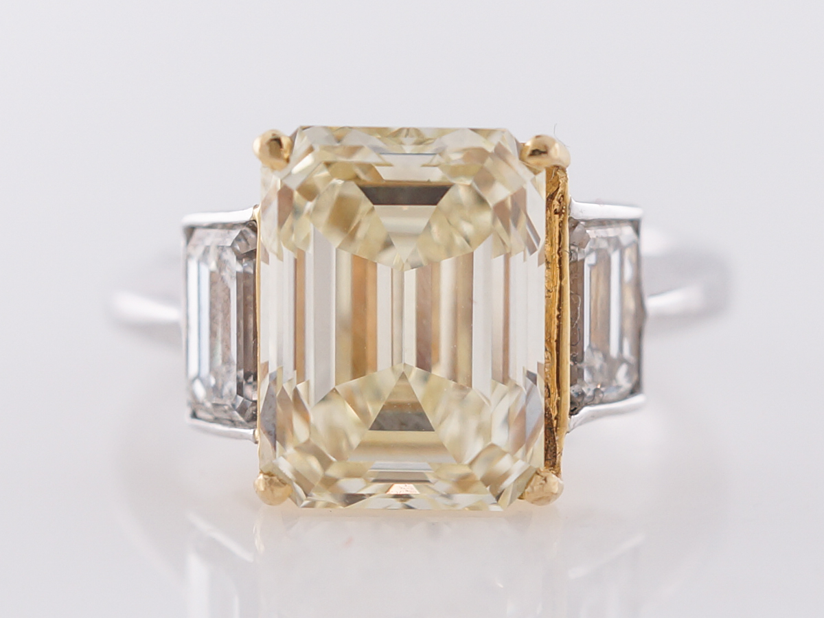 Fancy Yellow Emerald Cut Diamond Engagement Ring 5 Carats