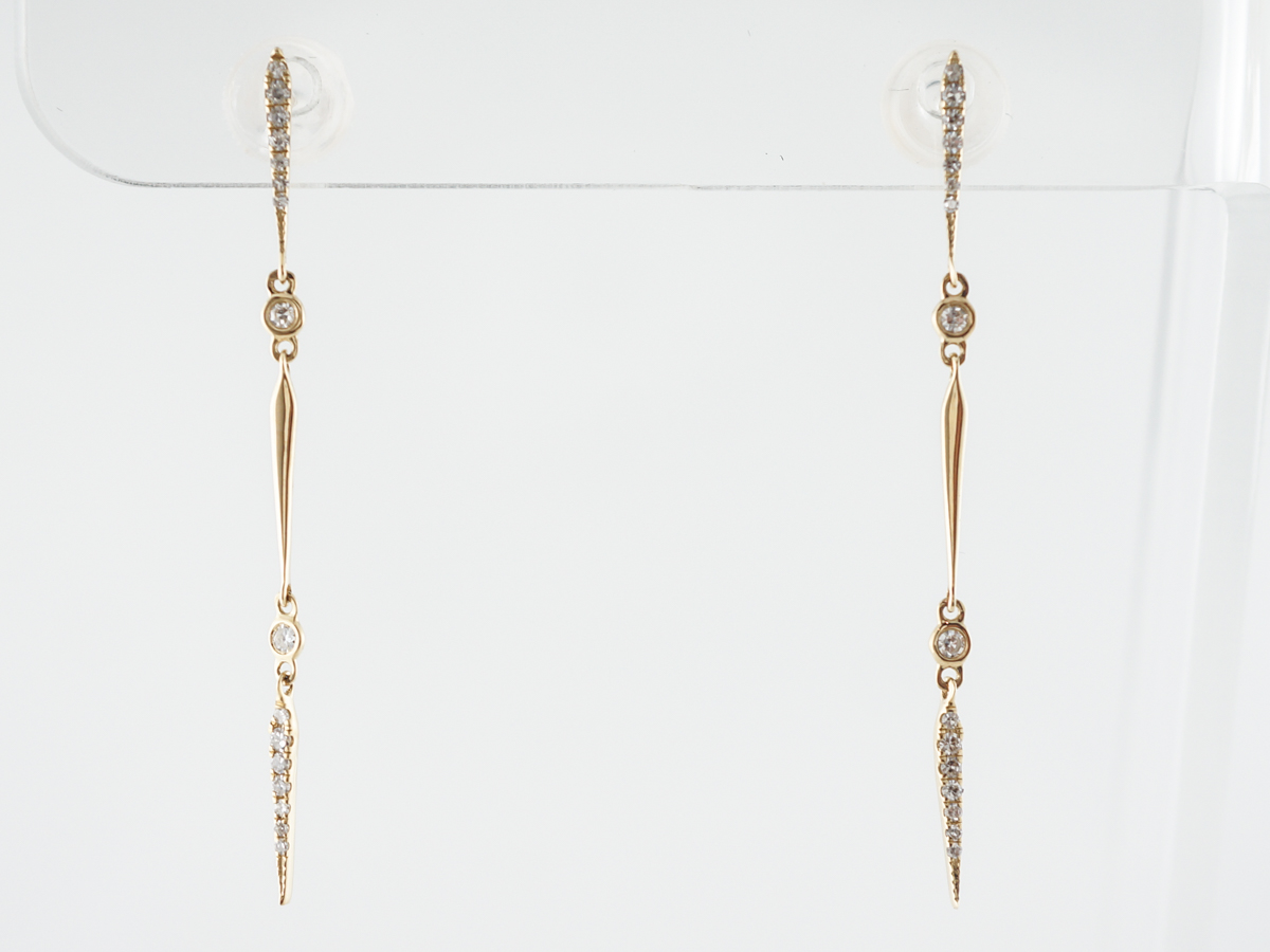 Thin Diamond Dangle Earrings in 18k Yellow Gold