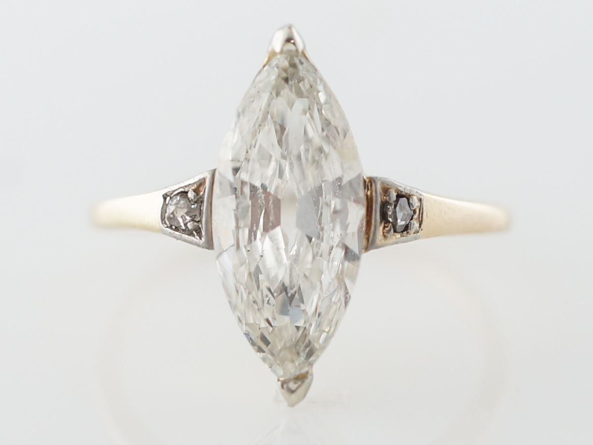 Art Deco Marquise Diamond Engagement Ring in Platinum & Yellow Gold