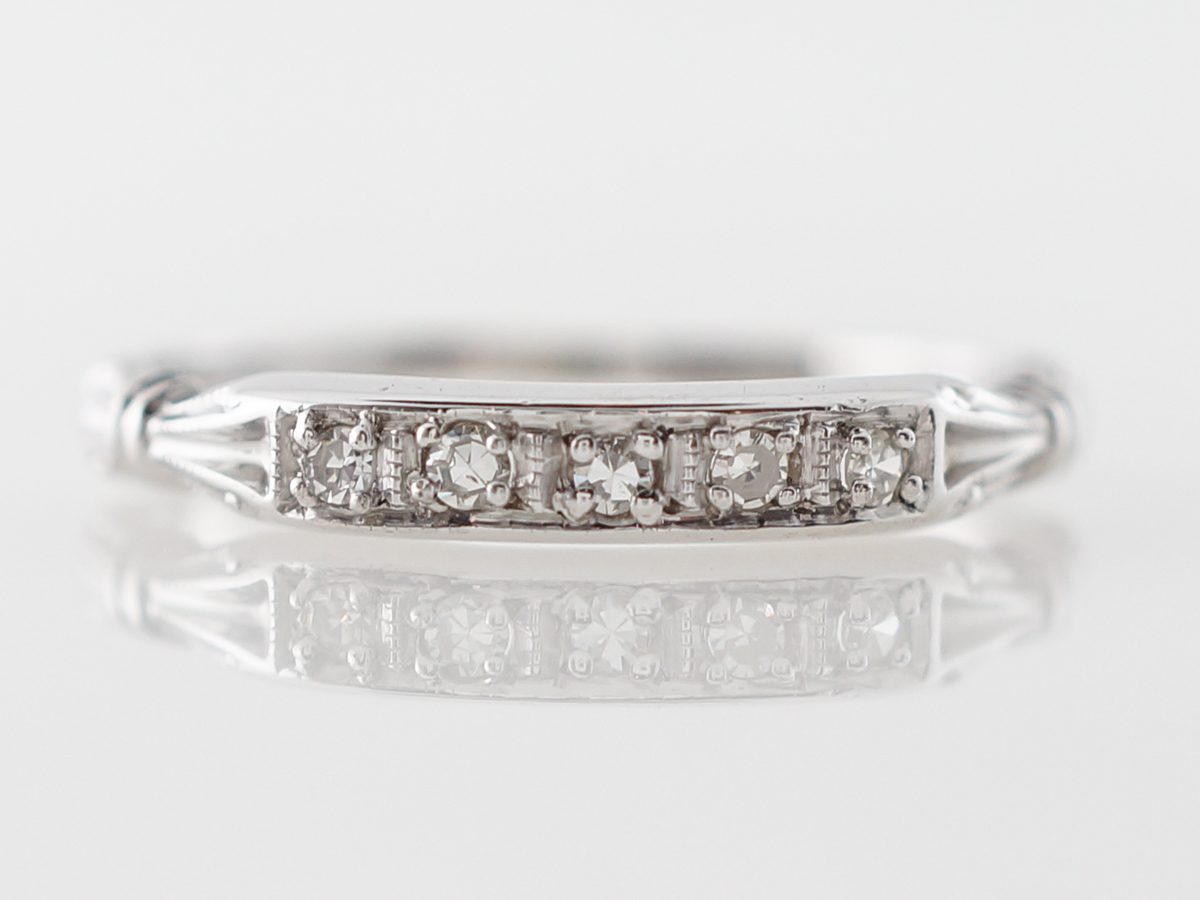 Vintage Diamond Wedding Band in 18k White Gold