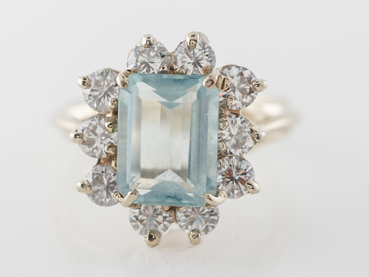 1950's Aquamarine & Diamond Cocktail Ring in Yellow Gold