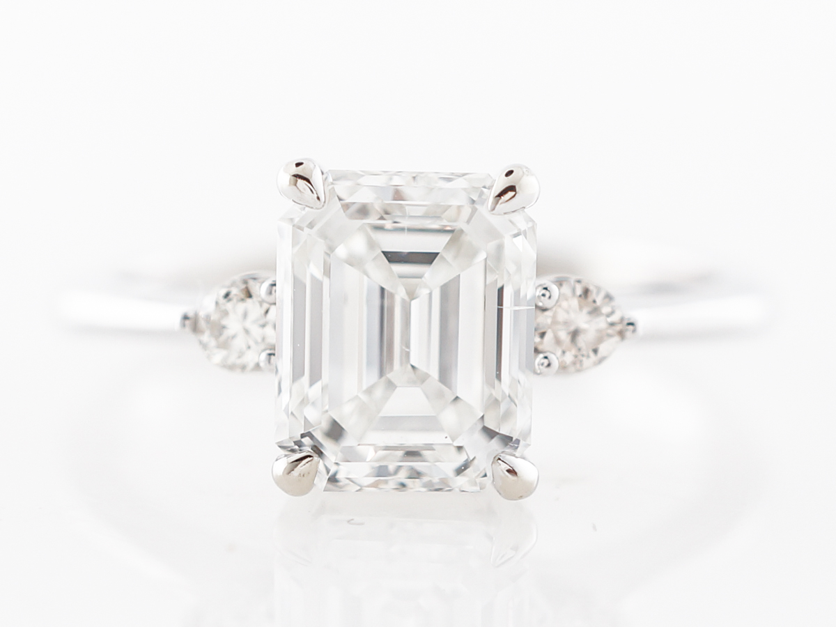 Emerald Cut Diamond Engagement Ring in White Gold
