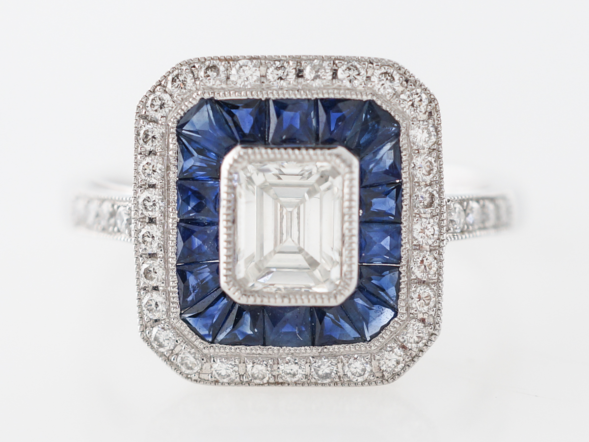 Emerald Cut Diamond & Sapphire Engagement Ring in Platinum