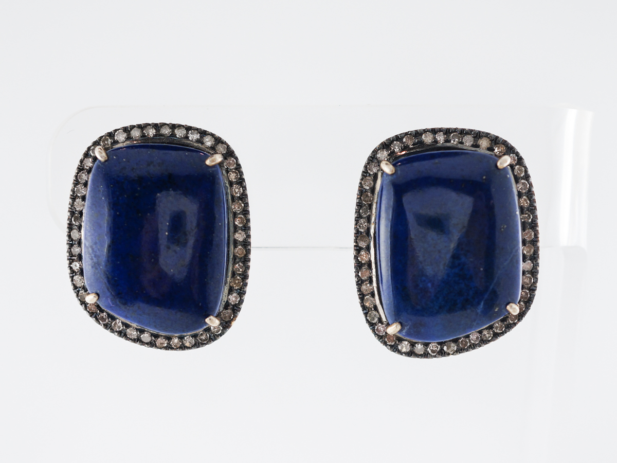 Halo Style Earrings w/ Lapis & Diamonds in Sterling Silver
