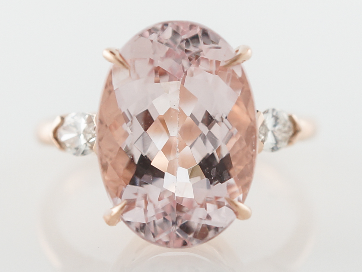Oval Cut Morganite Cocktail Ring in Rose Gold