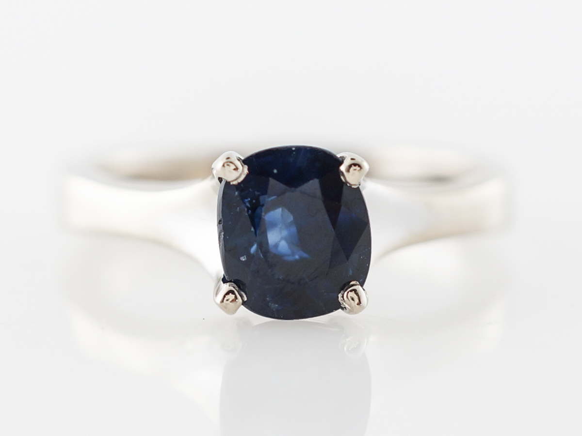Oval Sapphire Solitaire Engagement Ring in White Gold