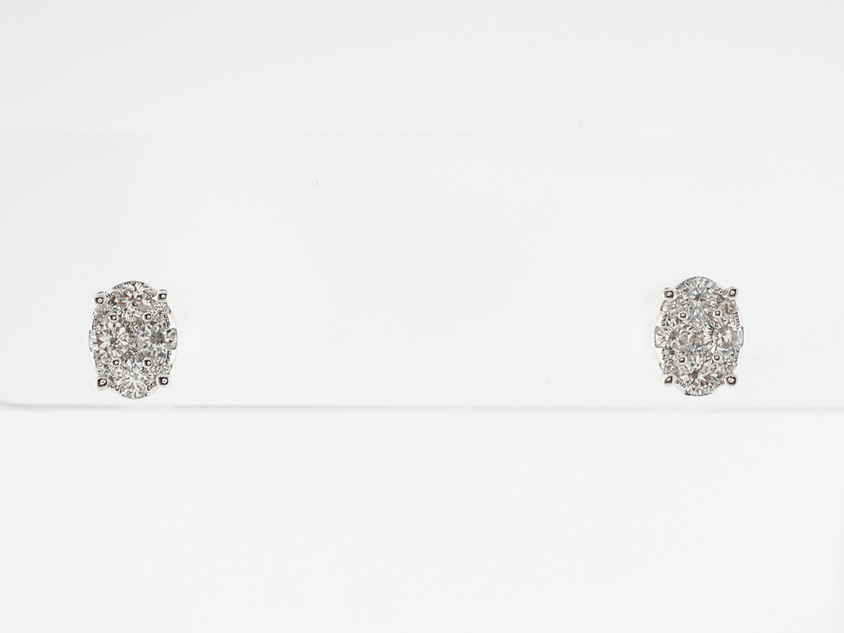 Pave Diamond Stud Earrings in 18k White Gold