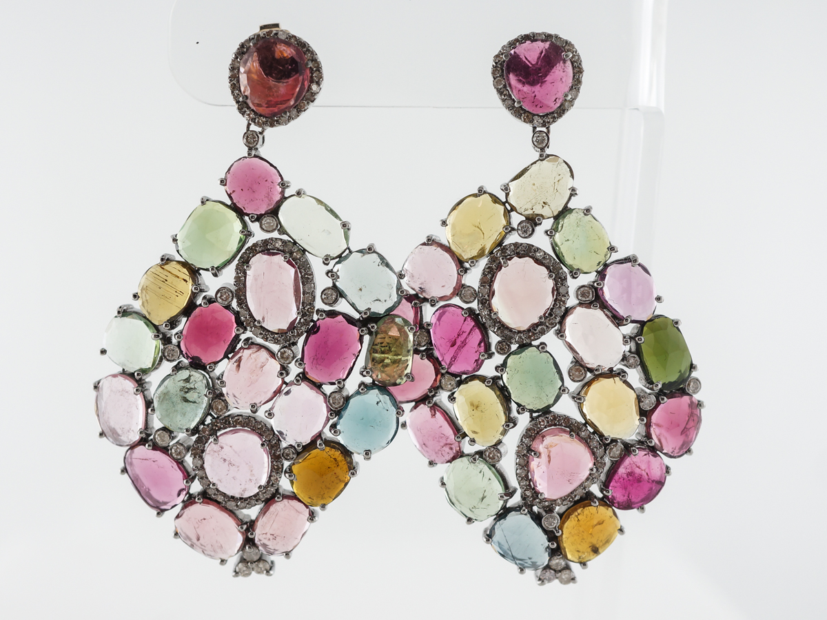 Colorful Earrings w/ Tourmaline & Diamonds in Sterling Silver