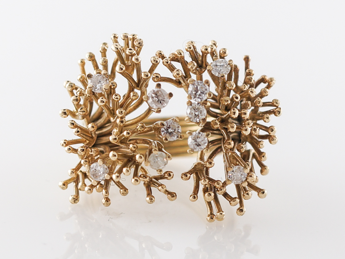 Spiked Diamond Cocktail Ring in Yellow Gold