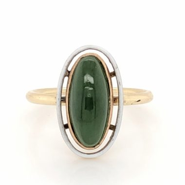 Victorian Jade Right Hand Ring in 14k Yellow Gold