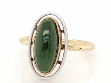 Victorian Jade & White Enamel Right Hand Ring in 14k Yellow Gold