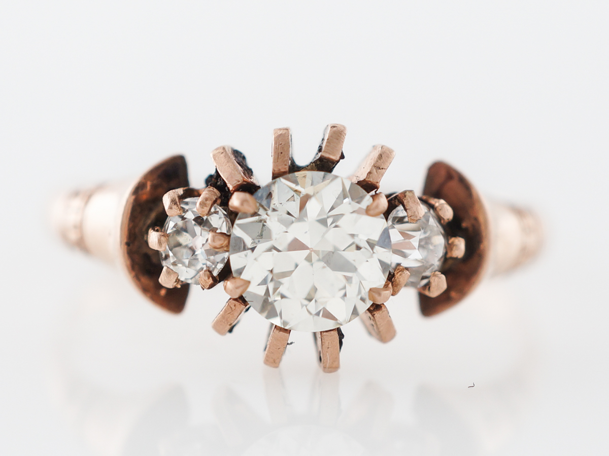 Vintage Rose Gold Diamond Engagement Ring
