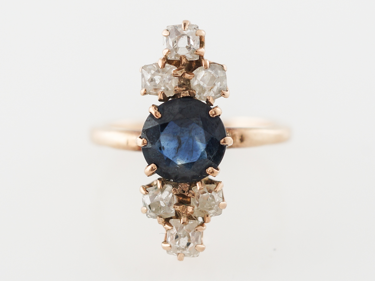 Victorian Sapphire & Diamond Cocktail Ring in 14k