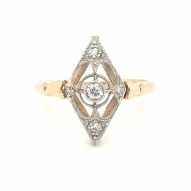 Vintage Deco Diamond Right Hand Ring in White & Yellow Gold