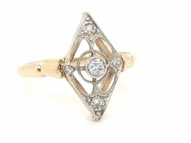 Vintage Art Deco Diamond Right Hand Ring in White & Yellow Gold