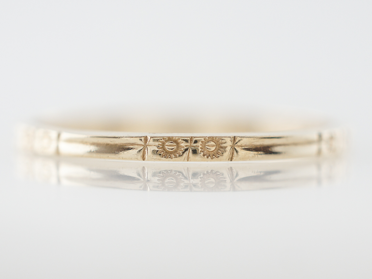 Yellow Gold Art Deco Wedding Band w/ Orange Blossom