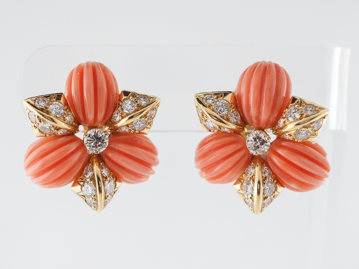 Fred of Paris Coral & Diamonds Earrings in Yellow Gold