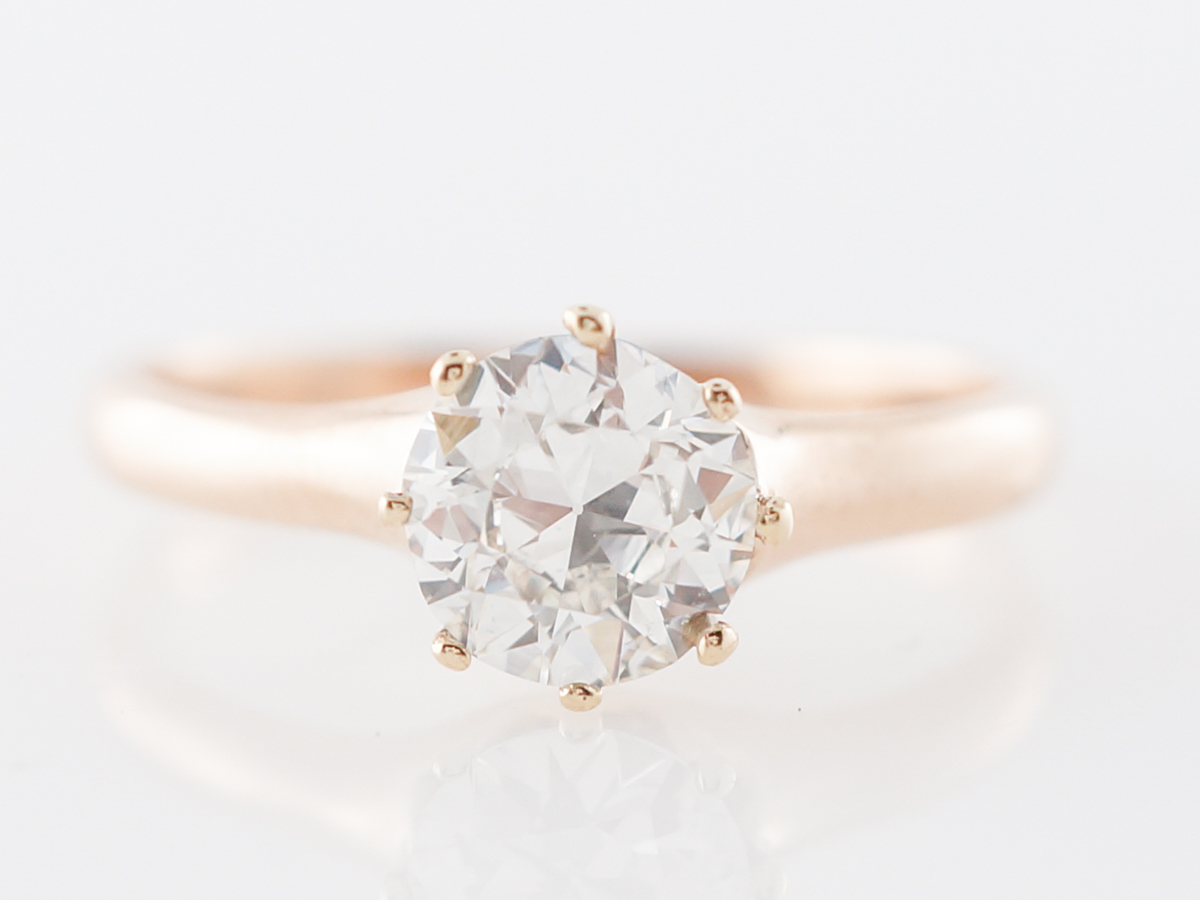 Victorian Rose Gold Diamond Solitaire Engagement Ring