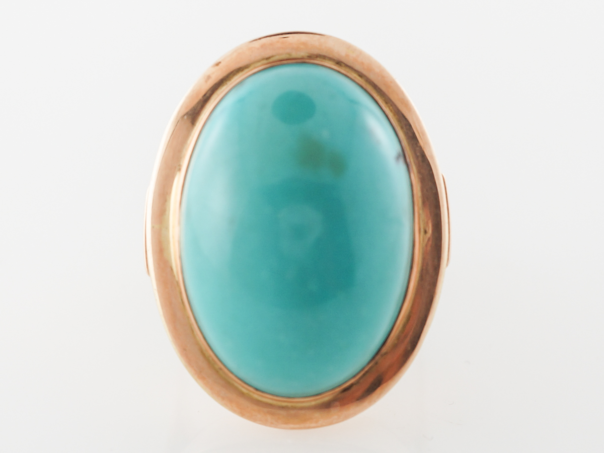 Vintage Cabochon Turquoise Cocktail Ring in Yellow Gold