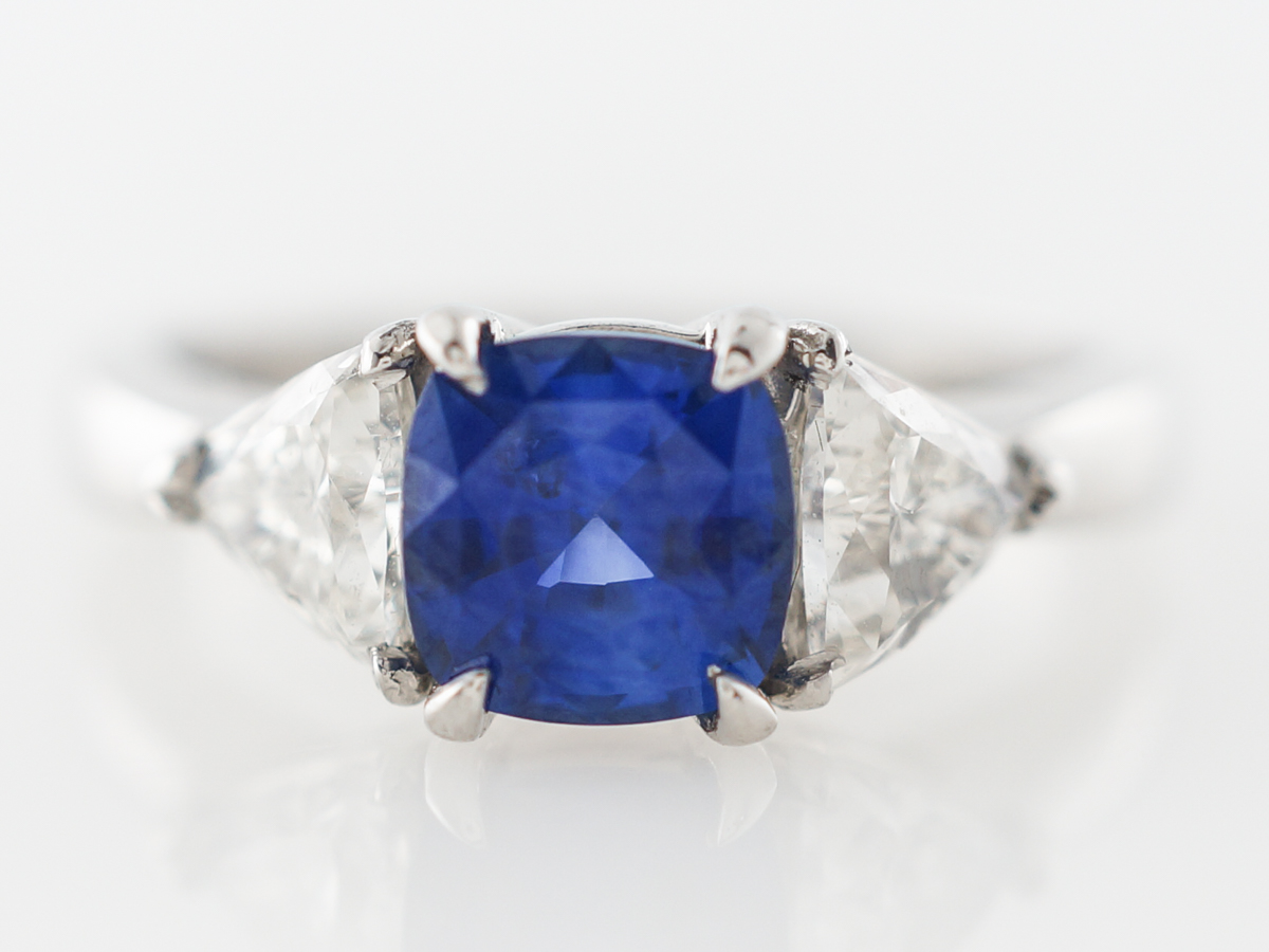 Sapphire & Diamond Three Stone Engagement Ring in Platinum