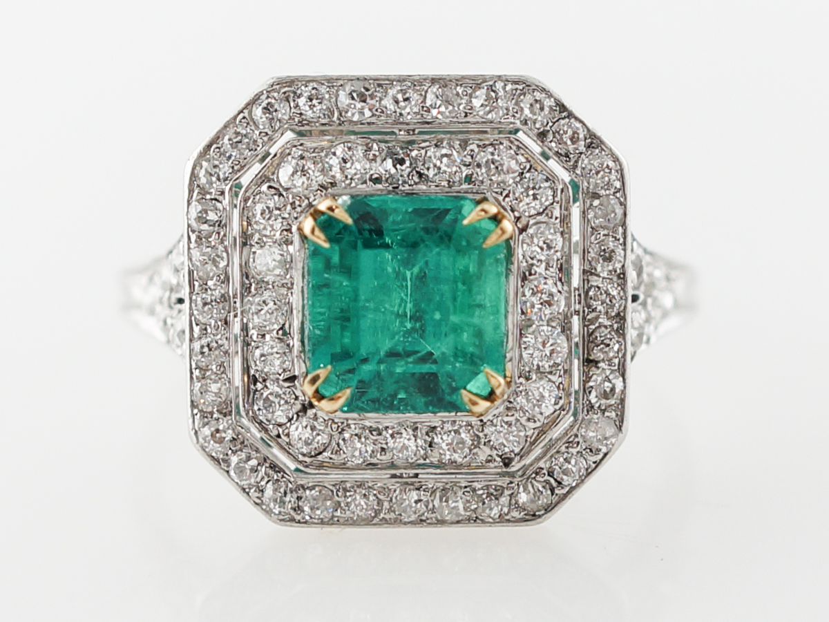 Emerald & Diamond Cluster Cocktail Ring in Platinum