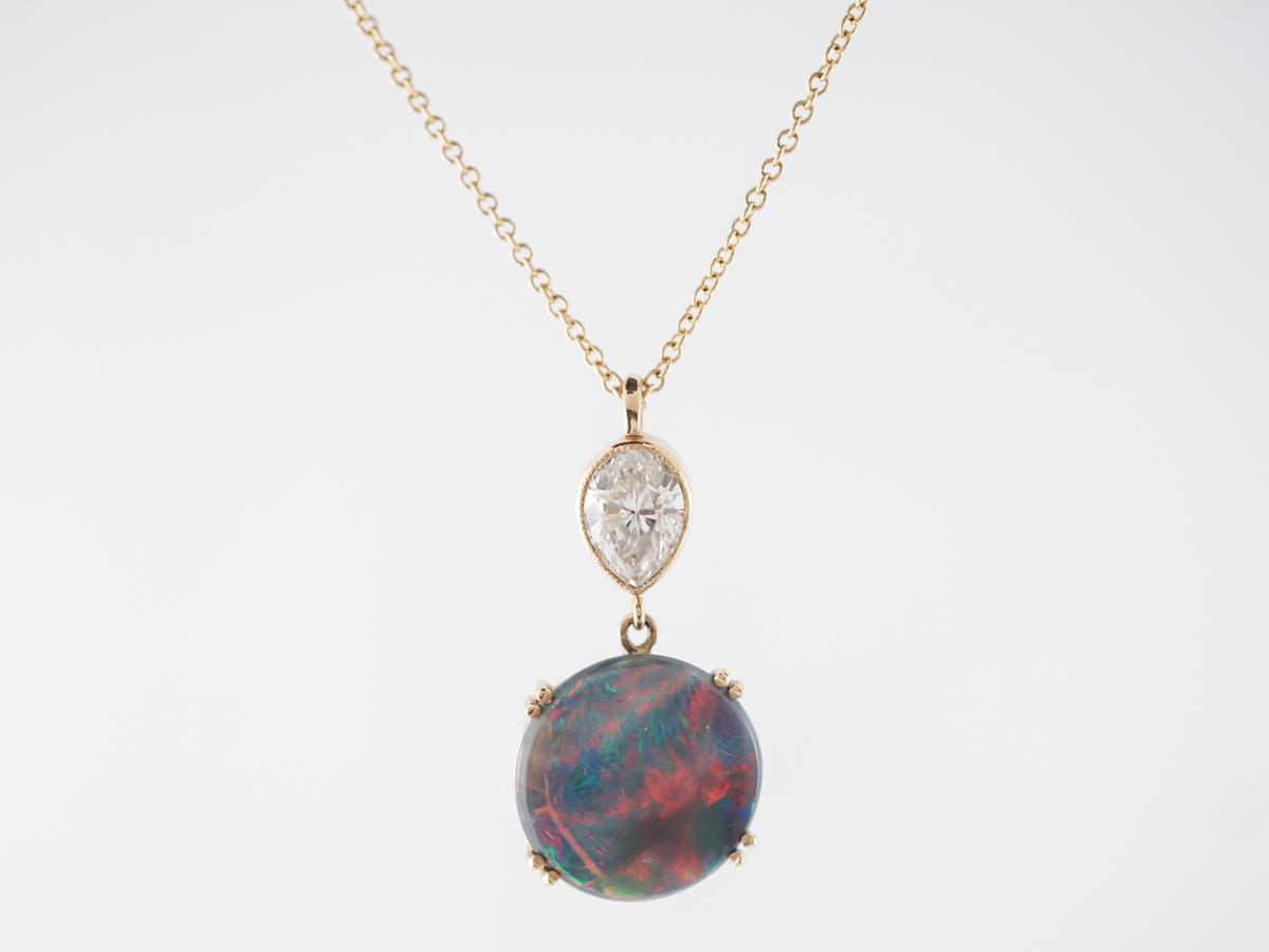Black Opal & Diamond Necklace in Yellow Gold