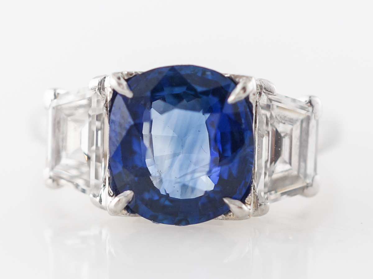 2.5 Carat Cushion Cut Sapphire Engagement Ring in Platinum