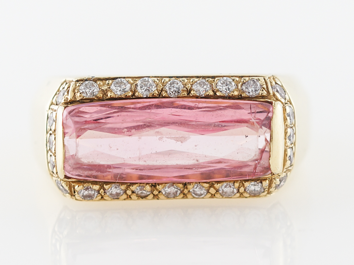 Pink Tourmaline & Diamond Cocktail Ring in Yellow Gold