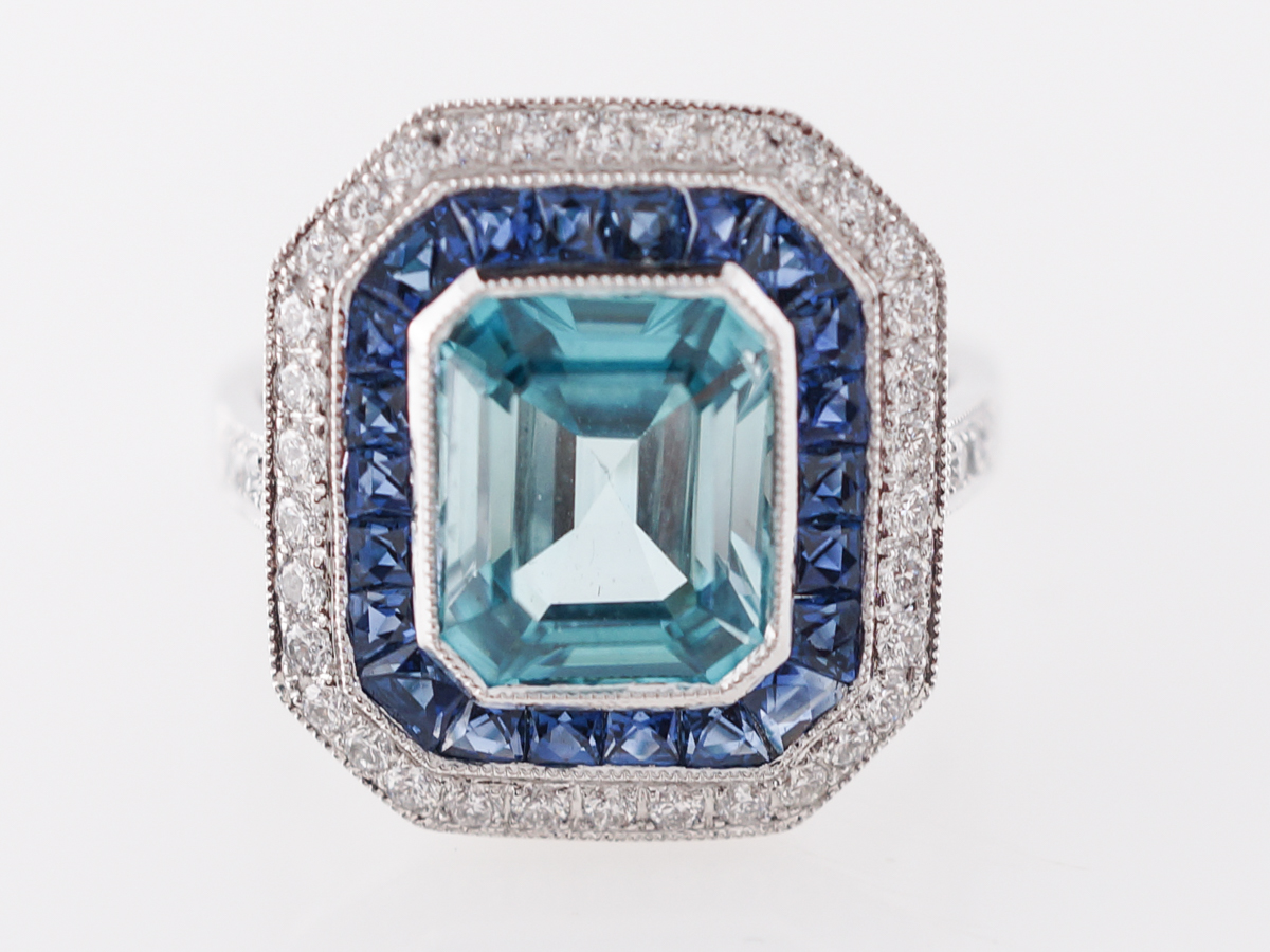 Blue Zircon Ring with Sapphire & Diamond Halo