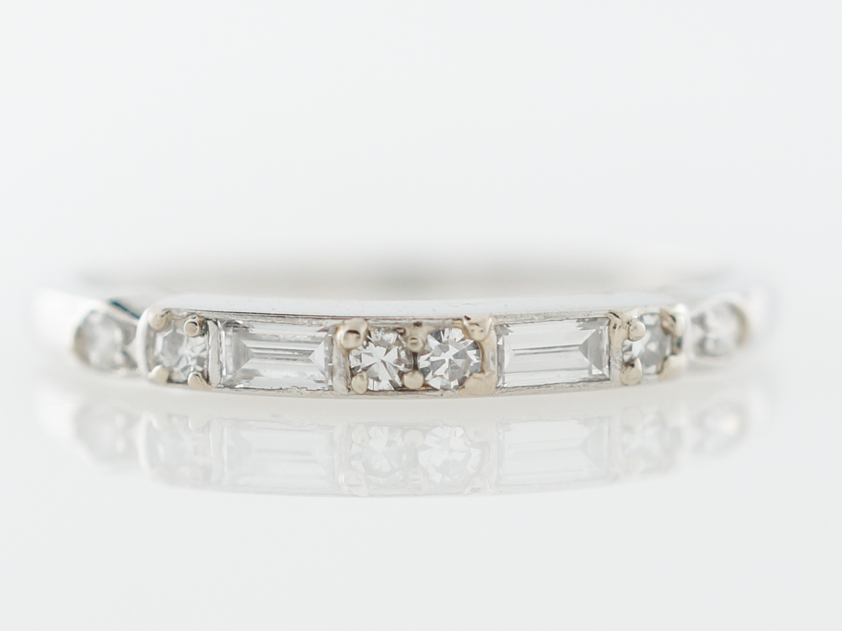 Vintage Mixed Diamond Wedding Band in Platinum