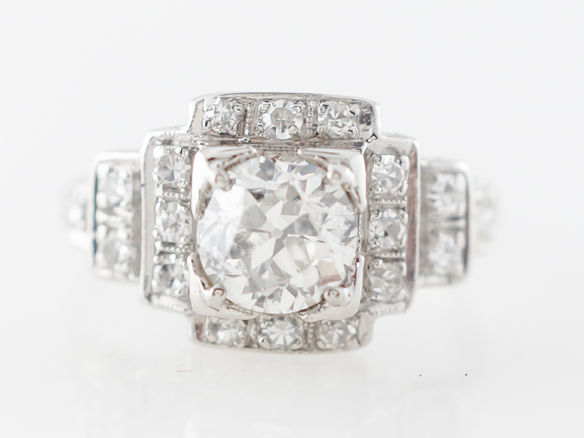 Vintage Art Deco Diamond Engagement in Platinum