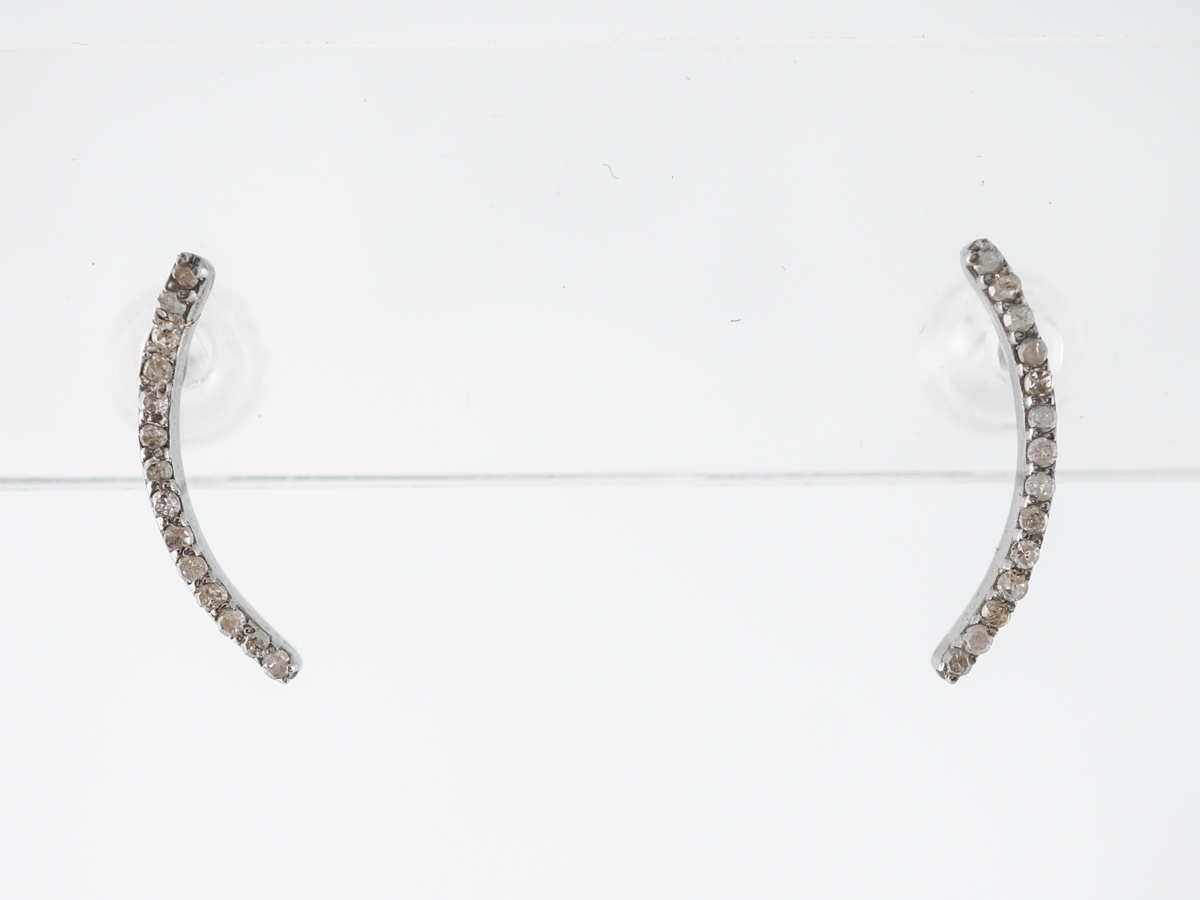 Ear Climber Earrings w/ Cognac Diamonds in Sterling Silver